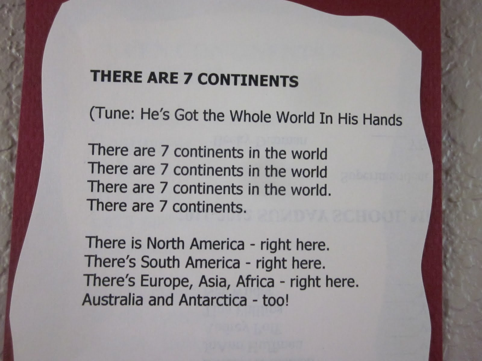 Kindergarten Homeschool Ideas Seven Continents Song