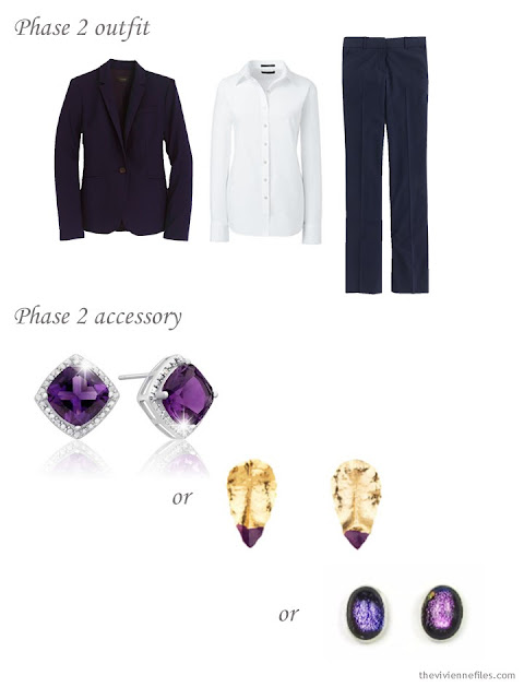 How to add amethyst earrings to a business capsule wardrobe