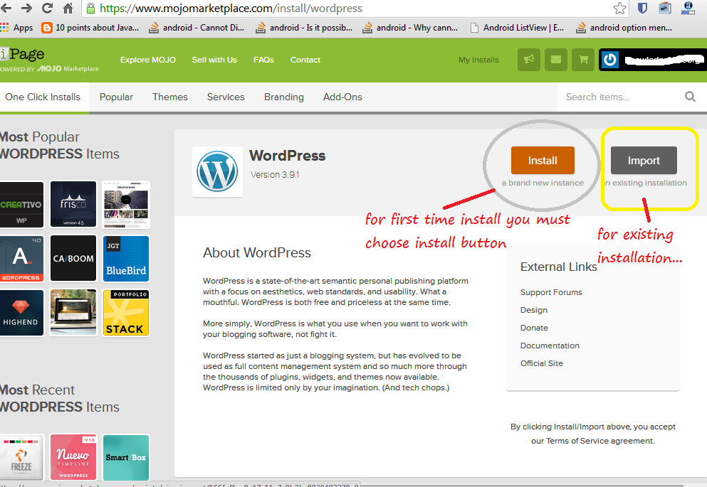 intall wordpress on iPage - Step 5