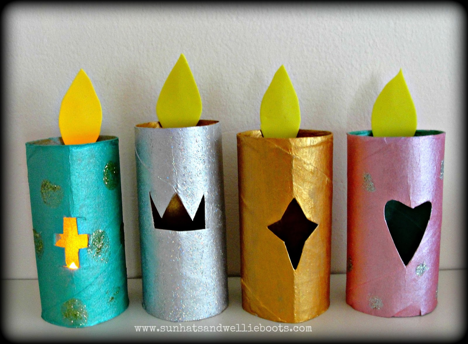 toilet paper roll advent wreath sun hats amp wellie boots glowing advent candles made from 7254
