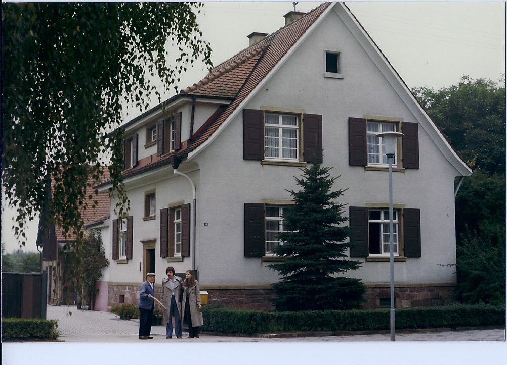 Jewish home confiscated by the Nazis. This Serz Family ancestral home was confiscated by the Nazis in Germany ca. 1940. The wife and two uncles were killed in a refugee camp. The son was killed in Auschwitz. Before they were imprisoned, the owners were forced to sell to the man on the left at a minimal price. Photo: ca. 1978.