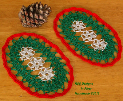 Holiday Silver Flowers Oval Crochet Coasters Set - Handmade by Ruth Sandra Sperling of RSS Designs In Fiber on Etsy