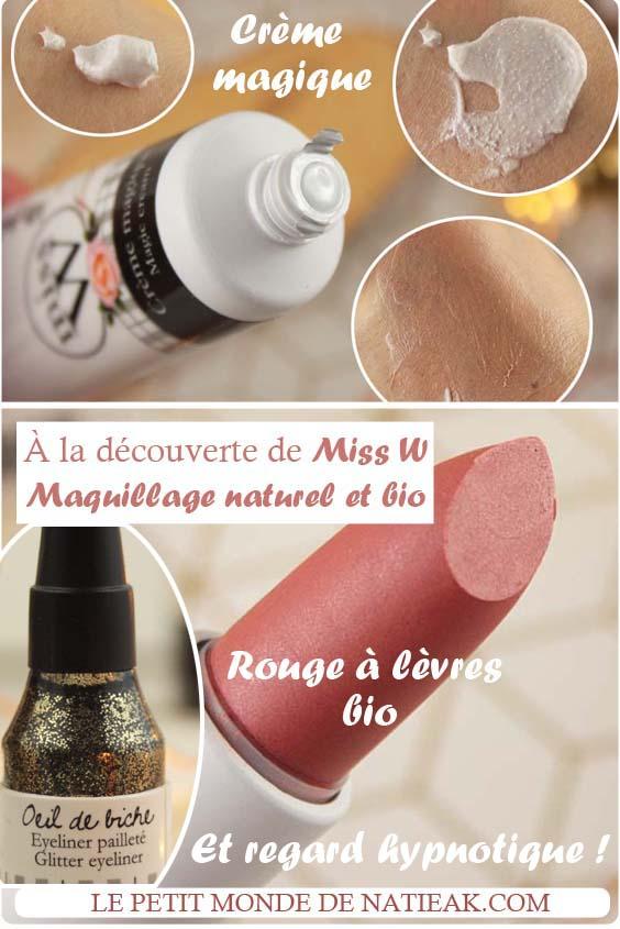 crème magique, l'eye liner pailleté et du rouge à lèvres Miss w