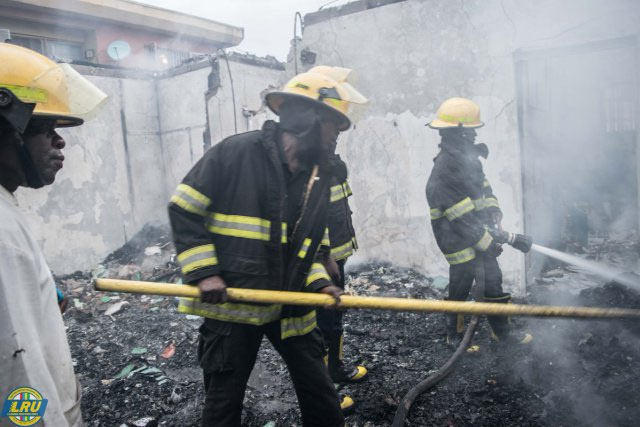 Photos: Fire destroys storey building in Ikeja