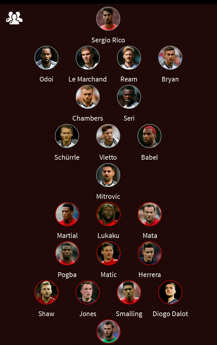 Fulham Vs Manchester United Starting Line Up XI