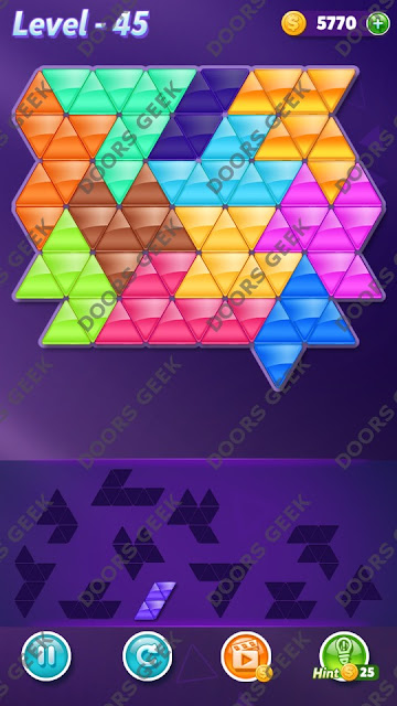 Block! Triangle Puzzle Challenger Level 45 Solution, Cheats, Walkthrough for Android, iPhone, iPad and iPod
