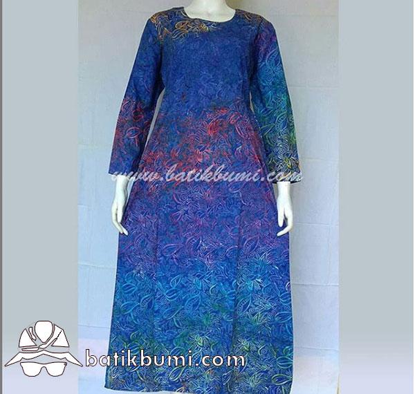 Batik Gamis Motif Gradasi Daun Biru