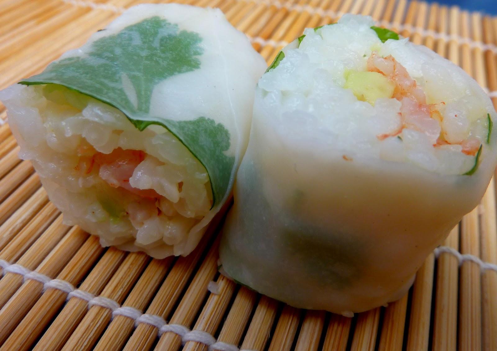 Makis crevettes avocats coriandre et feuilles de riz for Sac magique maison riz