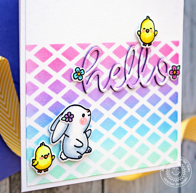 Sunny Studio Stamps: Frilly Frames Die Hello Word Die Chubby Bunny Hello Card by Vanessa Menhorn