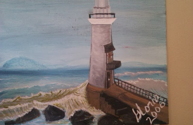 oil painting; one in series of Light houses, painted by Gloria Poole; oils on canvas bd