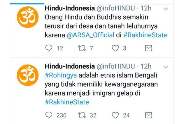 Akun InfoHindu Bercuit Provokatif, Netizen: Ini yang Namanya Coba Pindahkan Konflik Rohingya ke Indonesia!!