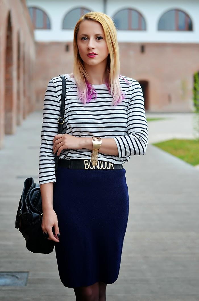 striped shirt Asos bonjour belt Kristin Perry fringe bracelet
