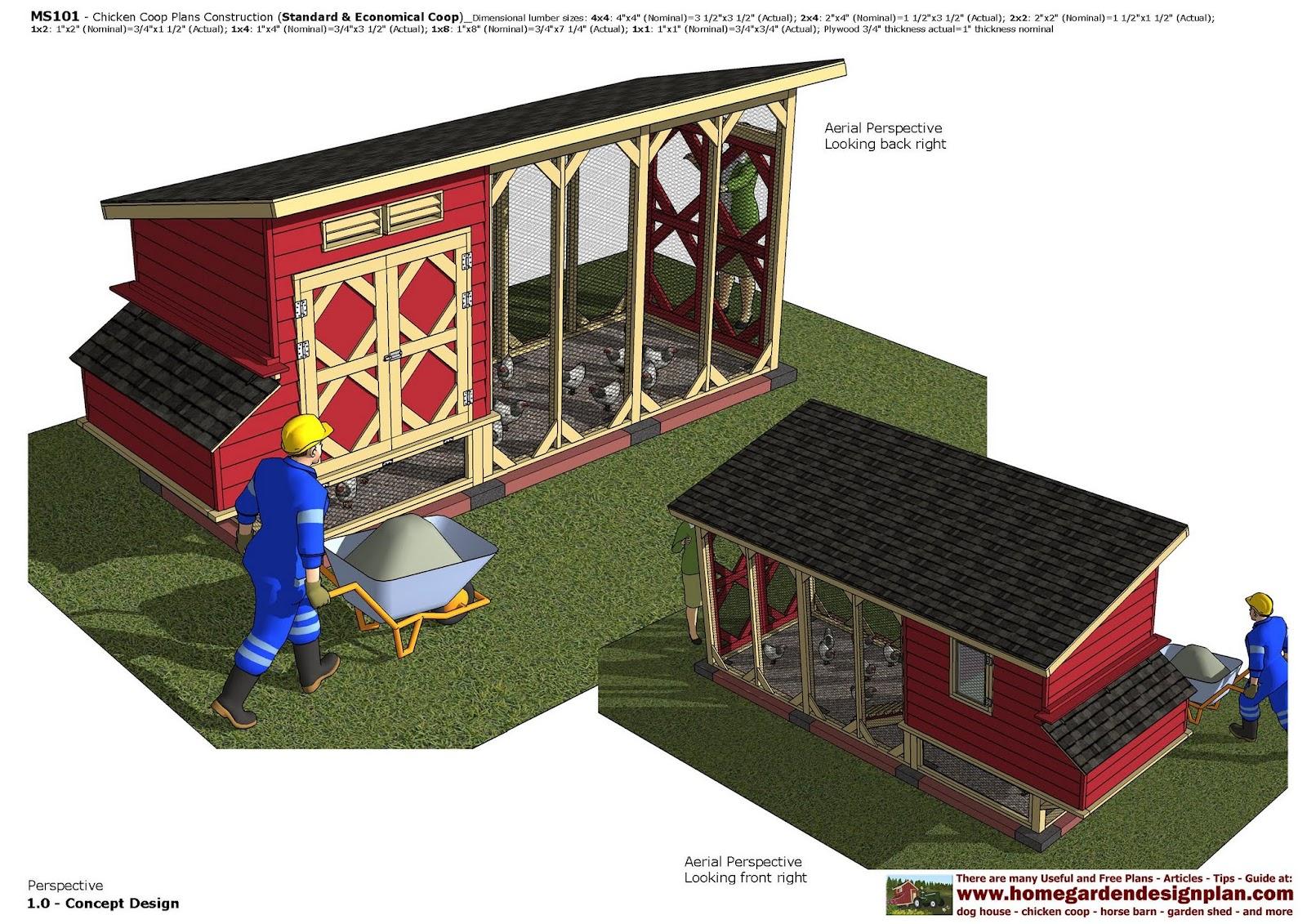Home garden plans ms101 chicken coop plans construction for Chicken coop for 2 chickens
