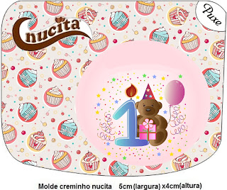 Etiqueta de Nucita para fiesta de Primer Año de nena.