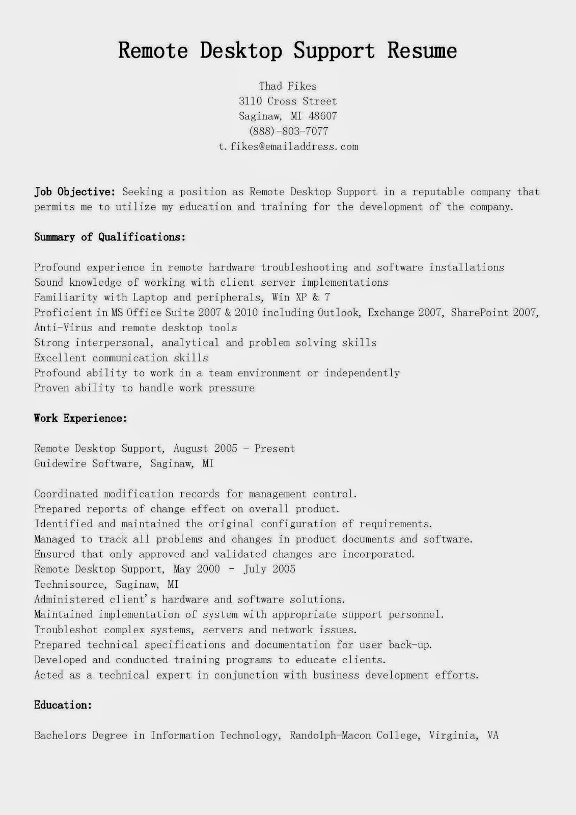sample resume for remote desktop support