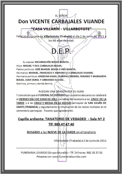 Lourido Esquela Funeral Vicente Carbajales Vijande Casa Villarín