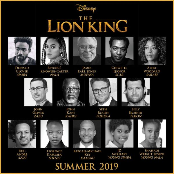 The Lion King 2019 cast as voices