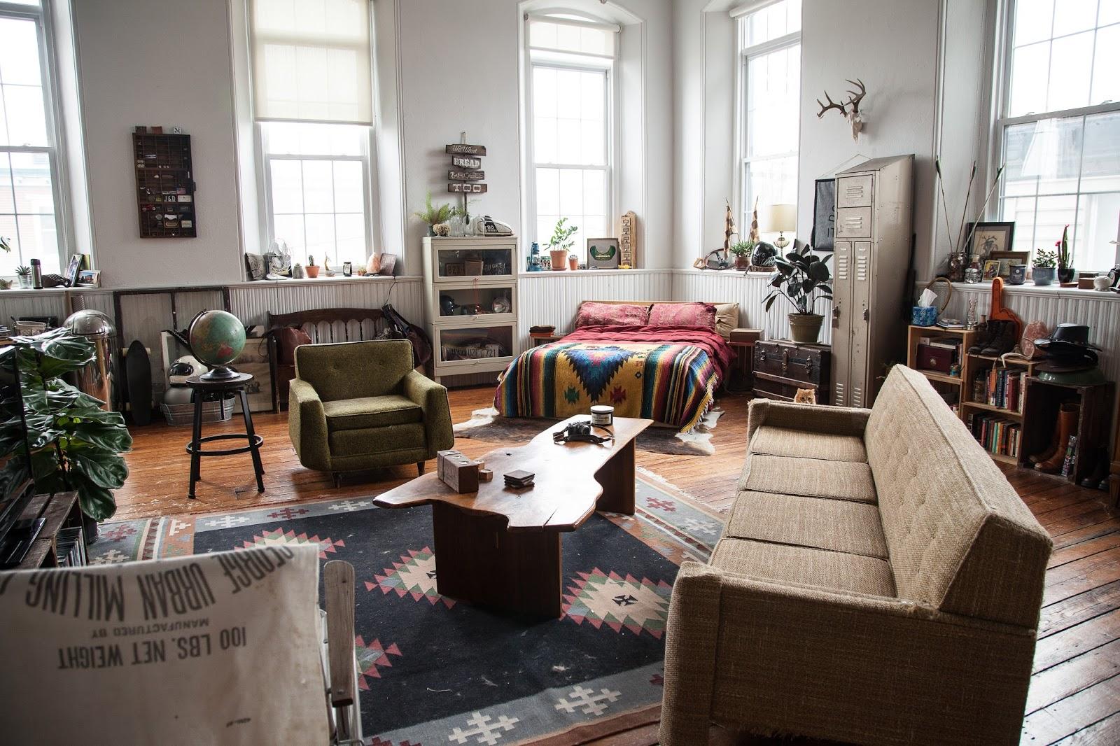 Fishtown Studio Living Room in a Former Church Rectory