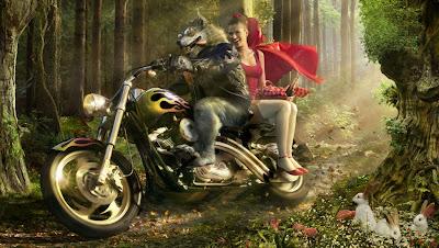 Caperucita  y el lobo feroz en moto