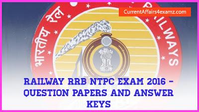 Railway RRB NTPC Exam 2016