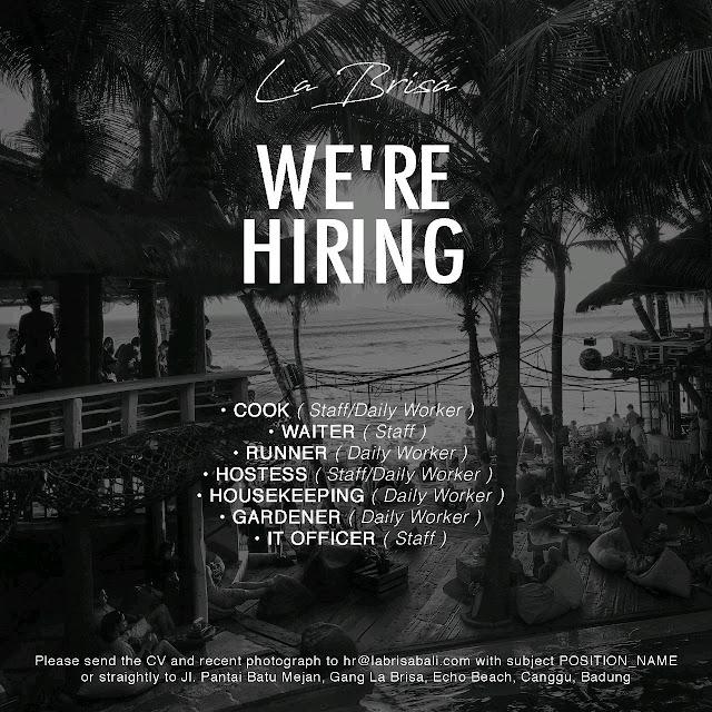 Lowongan kerja La Brisa Canggu Bali 2019