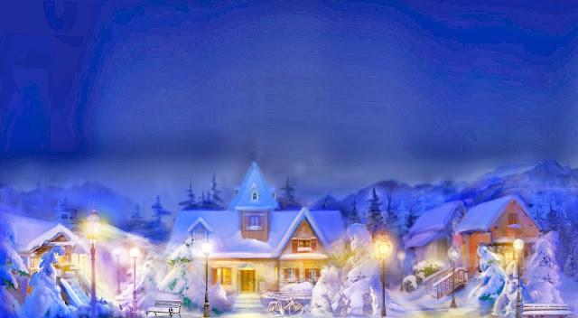 Kerst tekening met dorpje in de sneeuw