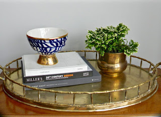 Vintage brass tray for family media room design