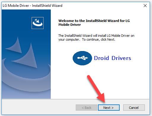 LG Mobile Drivers -- InstallShield Wizard box