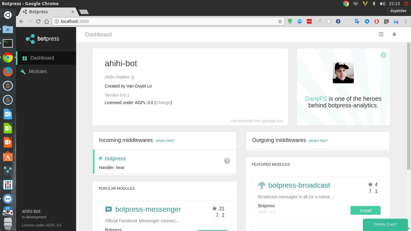 Chatbot với Botpress - Phần 1: Init Chatbot - Tôi là Duyệt