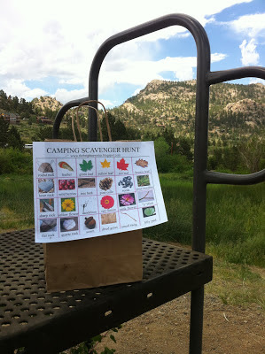 camping scavenger hunt list stapled to bag for kids www.thebrighterwriter.blogspot.com