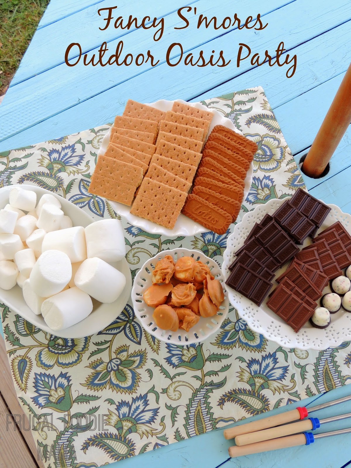 Forget plain ole s'mores this summer! Really wow your backyard guests by throwing a Fancy S'mores Outdoor Oasis Party.