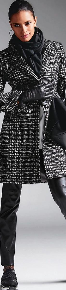MADELEINE CHECK COAT IN BLACK/WHITE