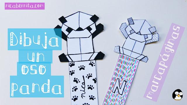 Marcapáginas de cartulina con dibujo de oso panda. Nica Bernita.