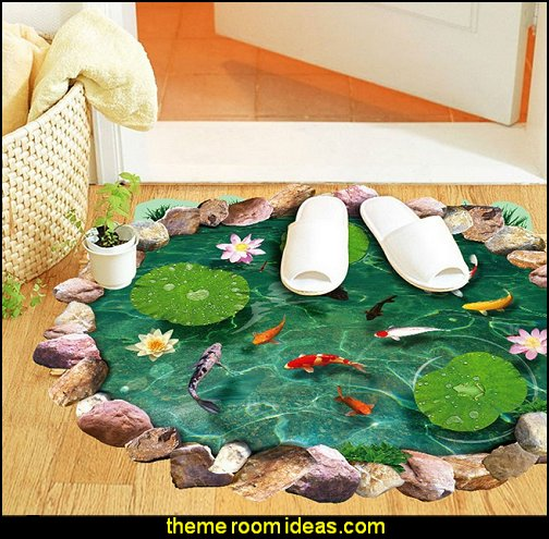3d Lotus Pond Floor Art Mural Vinyl Waterproof Wall Stickers