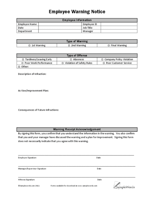 Crazy image in employee write up form free printable