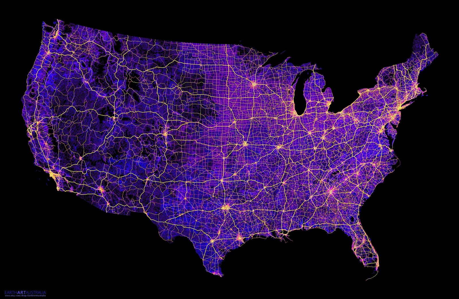 The contiguous U.S. mapped only by dirt trails, roads & highways