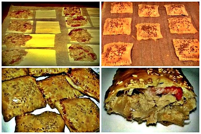 Preparación de las empanadillas de hojaldre de bonito