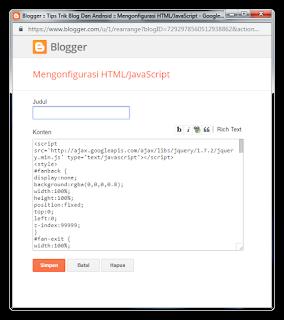 Cara Membuat Faspage Facebook Melayang Di Blogger