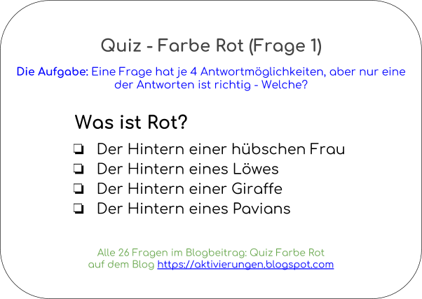 Farbrätsel, Rot sehen, Dinge in Rot, Begriffe Rot, Rätsel mit Rot, Denkspiel rum die Farbe Rot