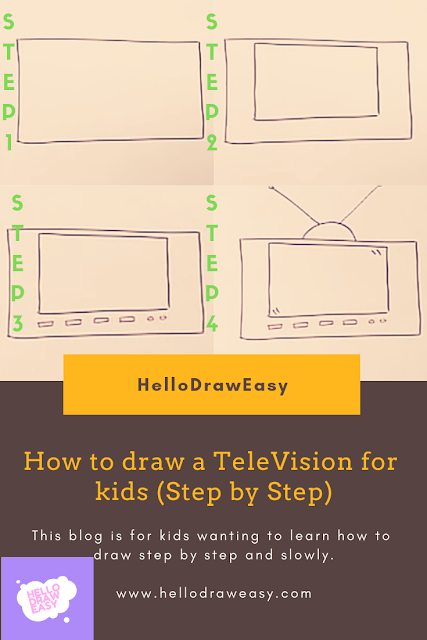 How to draw a Television for kids (Step by Step)