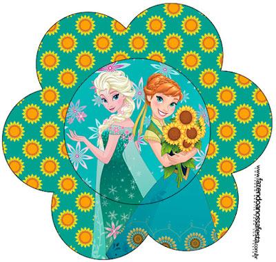 Tarjeta con forma de flor de Frozen Fever.