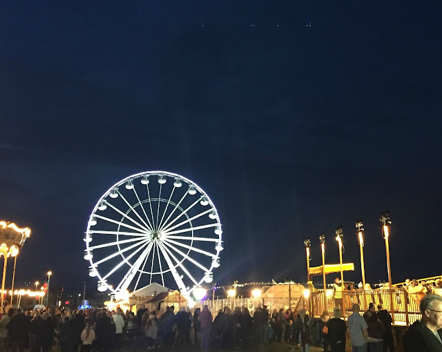 Big wheel lit up at the fair at Sunderland Illumination