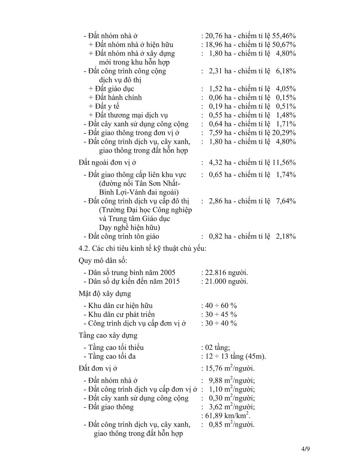 Quyết Định Số 2921/QĐ-UBND Quy Hoạch Khu Dân Cư Phường 4 Quận Gò Vấp Tờ 4