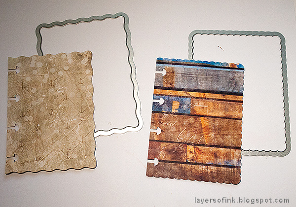 Layers of ink - Nautical Mini Album Tutorial by Anna-Karin Evaldsson with Eileen Hull Sizzix Journaling Card dies