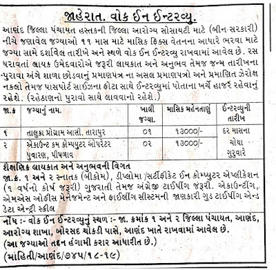 Anand District Health Society, Recruitment 2019 / Taluka Program Asst. & Accountant cum Computer Operator Posts:
