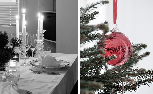 kattaus, joulupöytä, joulukattaus, punainen lasipallo, lasipallo. joulukuusi