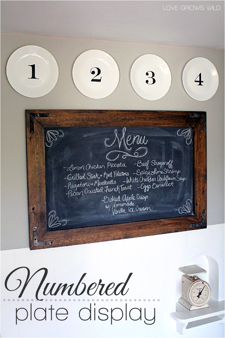 DIY Kitchen Decor: Numbered Plate Display - Love Grows Wild