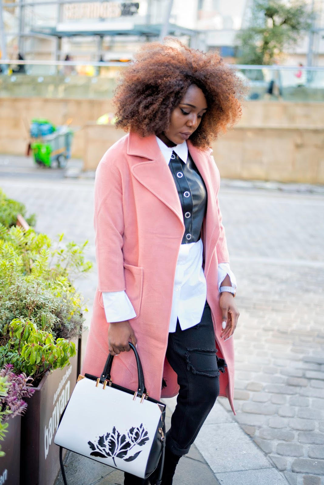 blush coat, styling monochrome