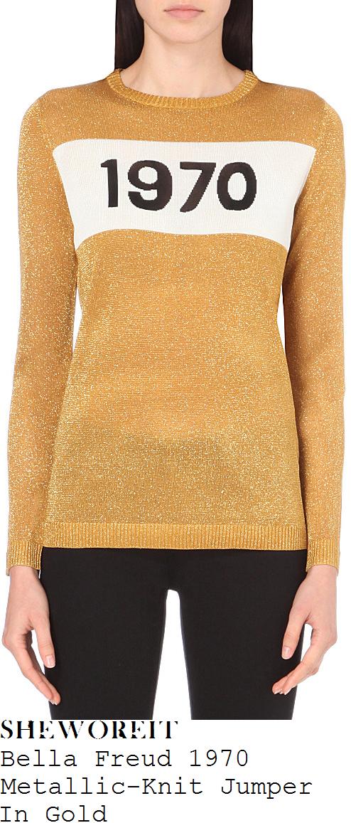 caroline-flack-bella-freud-gold-white-and-black-1970-slogan-detail-long-sleeve-sparkle-glitter-knit-jumper