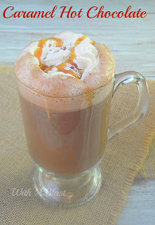 Caramel Hot Chocolate ~ Divine, warming hot chocolate with caramel ~ this is to die for delicious ! #HotBeverage #HotChocolate #WinterDrink www.WithABlast.net